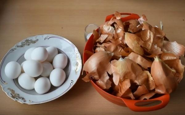 яйца в луковой шелухе 1 ингредиенты