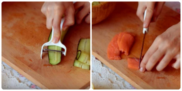 канапе с авокадо и красной рыбой режем продукт