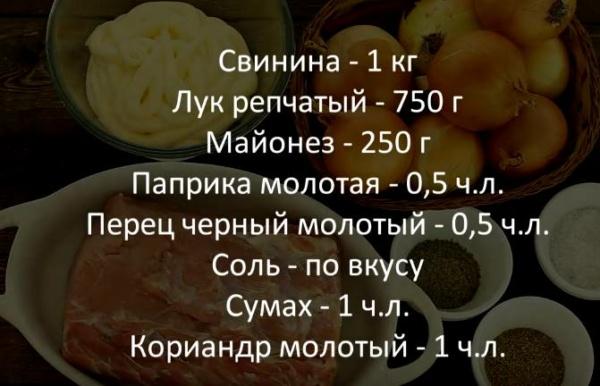 маринад для шашлыка из свинины 4 ингредиенты