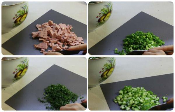 окрошка на сыворотке 3 режем овощи