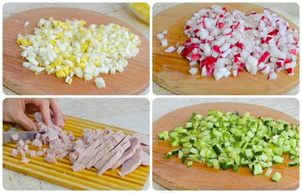 окрошка на сыворотке 4 режем продукты