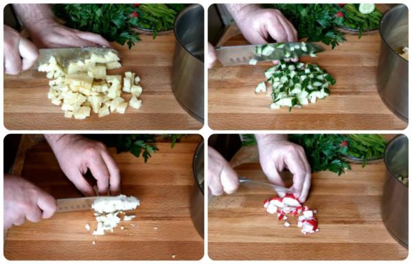 окрошка на сыворотке 5 нарезаем продукты